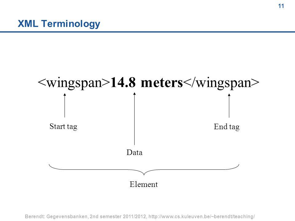 11 Berendt: Gegevensbanken, 2nd semester 2011/2012, http://www.cs.kuleuven.be/~berendt/teaching/ 11 XML Terminology 14.8 meters Start tag End tag Data Element