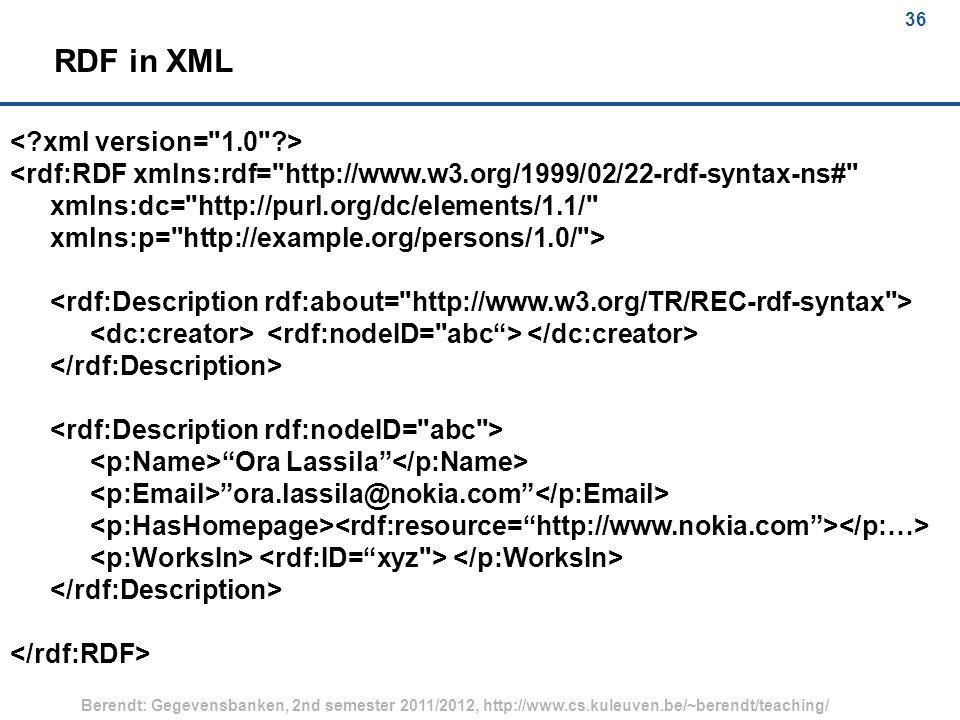 36 Berendt: Gegevensbanken, 2nd semester 2011/2012, http://www.cs.kuleuven.be/~berendt/teaching/ 36 RDF in XML <rdf:RDF xmlns:rdf= http://www.w3.org/1999/02/22-rdf-syntax-ns# xmlns:dc= http://purl.org/dc/elements/1.1/ xmlns:p= http://example.org/persons/1.0/ > Ora Lassila ora.lassila@nokia.com
