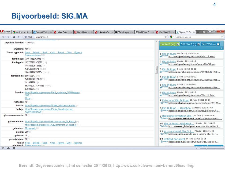 4 Berendt: Gegevensbanken, 2nd semester 2011/2012, http://www.cs.kuleuven.be/~berendt/teaching/ 4 Bijvoorbeeld: SIG.MA