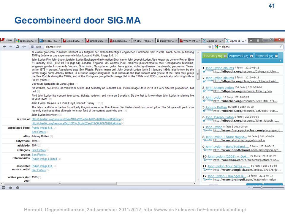 41 Berendt: Gegevensbanken, 2nd semester 2011/2012, http://www.cs.kuleuven.be/~berendt/teaching/ 41 Gecombineerd door SIG.MA