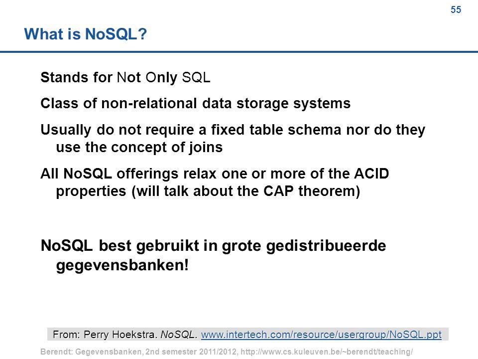 55 Berendt: Gegevensbanken, 2nd semester 2011/2012, http://www.cs.kuleuven.be/~berendt/teaching/ 55 What is NoSQL.