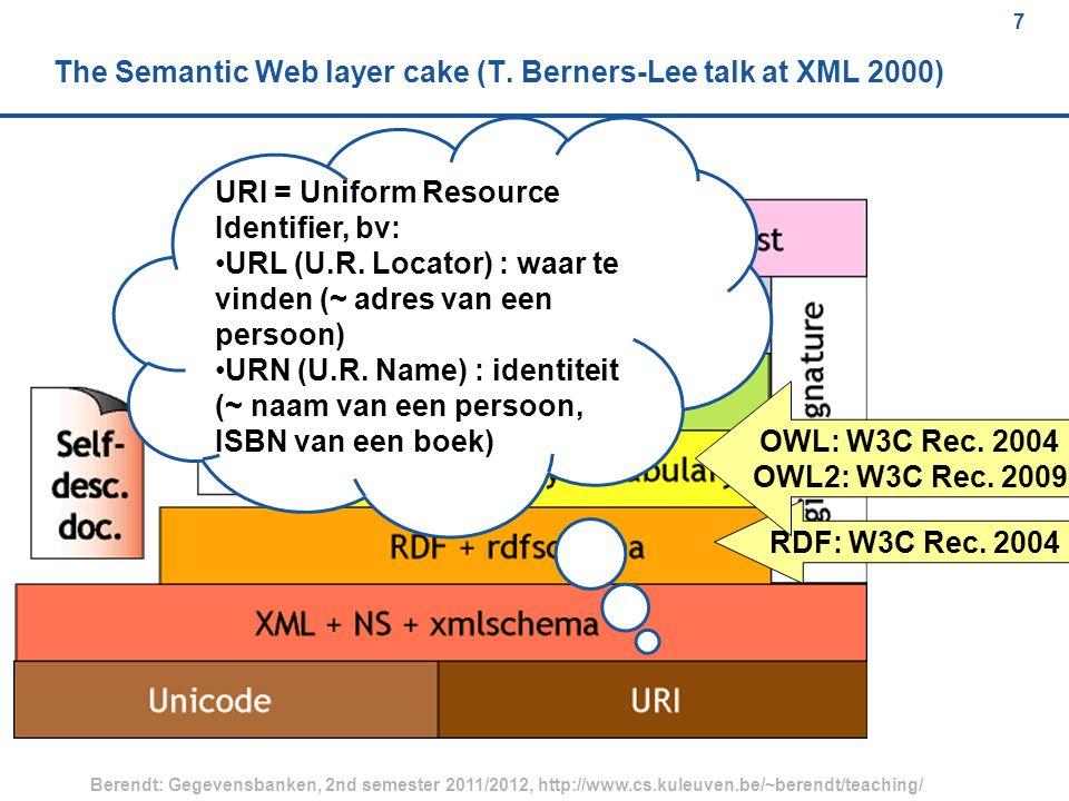 7 Berendt: Gegevensbanken, 2nd semester 2011/2012, http://www.cs.kuleuven.be/~berendt/teaching/ 7 The Semantic Web layer cake (T.