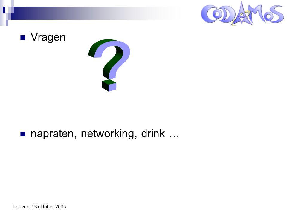 Leuven, 13 oktober 2005 Vragen napraten, networking, drink …