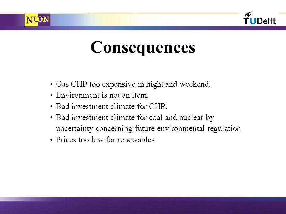 Consequences Gas CHP too expensive in night and weekend.