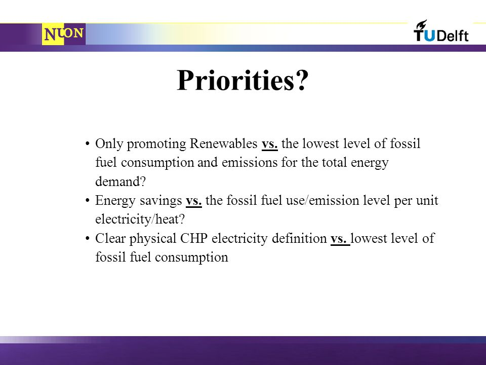 Priorities. Only promoting Renewables vs.