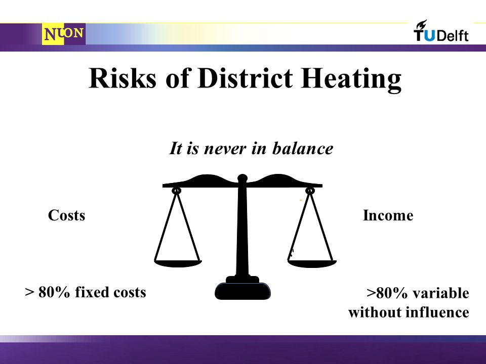 Risks of District Heating IncomeCosts It is never in balance >80% variable without influence > 80% fixed costs