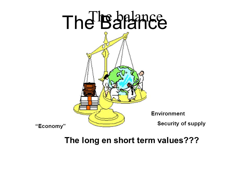 """Economy"" The Balance The long en short term values??? Environment Security of supply The balance."