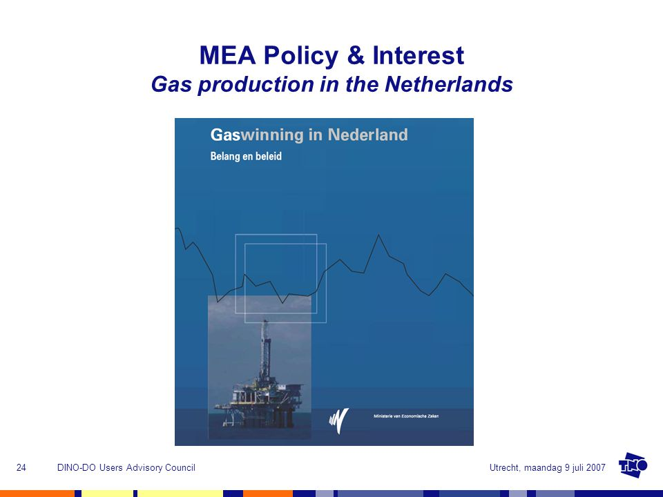Utrecht, maandag 9 juli 2007DINO-DO Users Advisory Council24 MEA Policy & Interest Gas production in the Netherlands