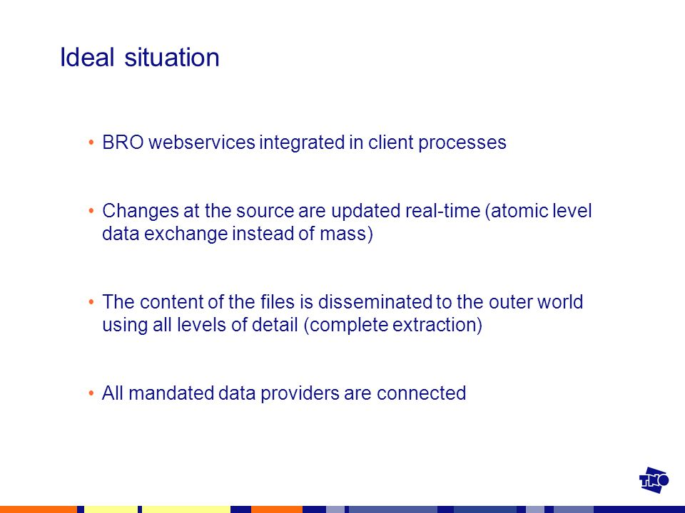Ideal situation BRO webservices integrated in client processes Changes at the source are updated real-time (atomic level data exchange instead of mass) The content of the files is disseminated to the outer world using all levels of detail (complete extraction) All mandated data providers are connected