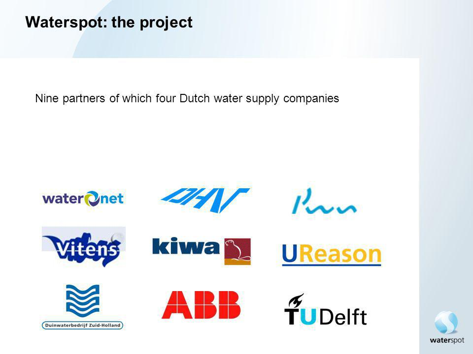 Waterspot: the project Nine partners of which four Dutch water supply companies