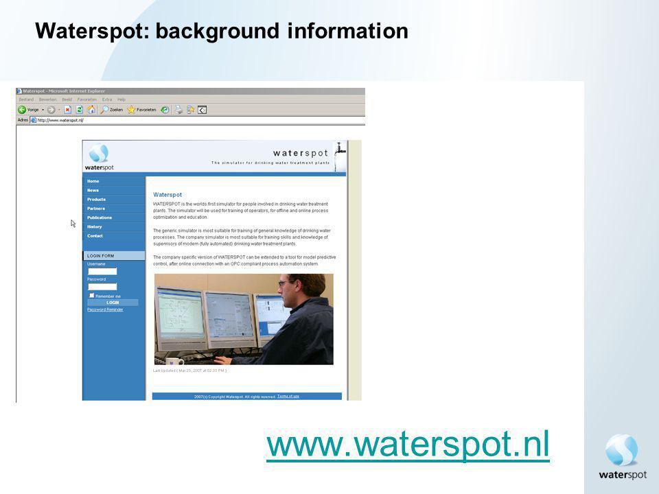 Waterspot: background information www.waterspot.nl