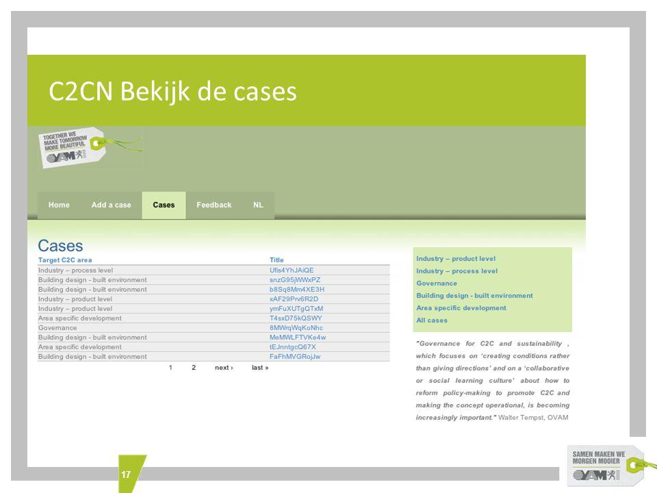 17 What's INTERREG IVC C2CN Bekijk de cases