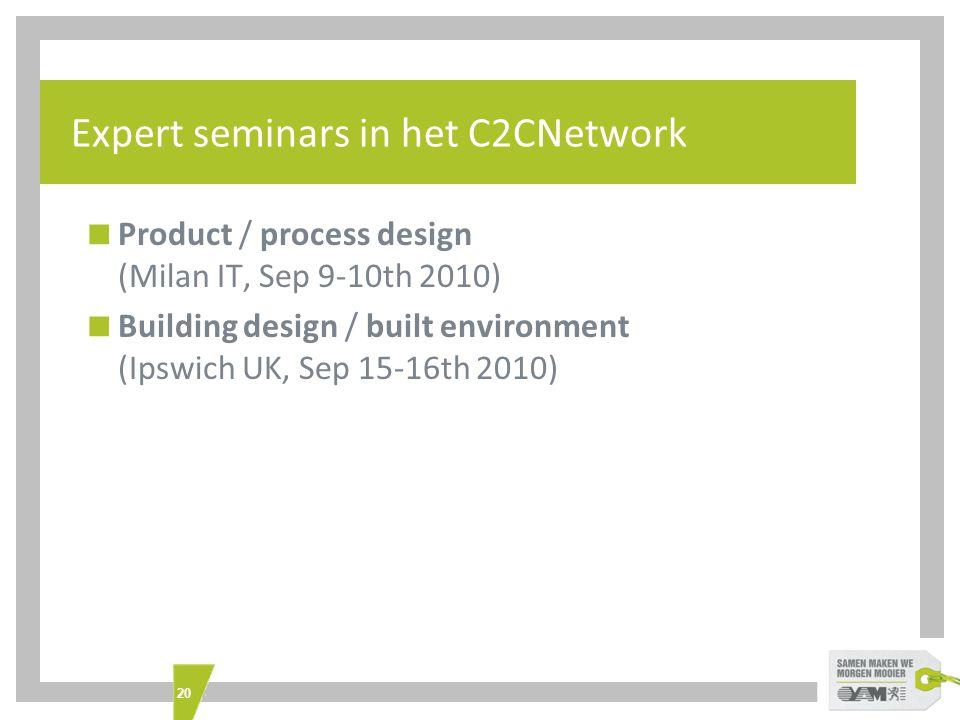 20 Expert seminars in het C2CNetwork  Product / process design (Milan IT, Sep 9-10th 2010)  Building design / built environment (Ipswich UK, Sep 15-16th 2010)