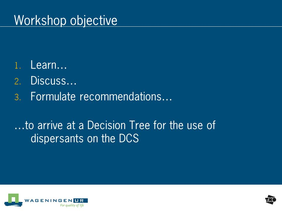 Workshop objective  Learn…  Discuss…  Formulate recommendations… …to arrive at a Decision Tree for the use of dispersants on the DCS