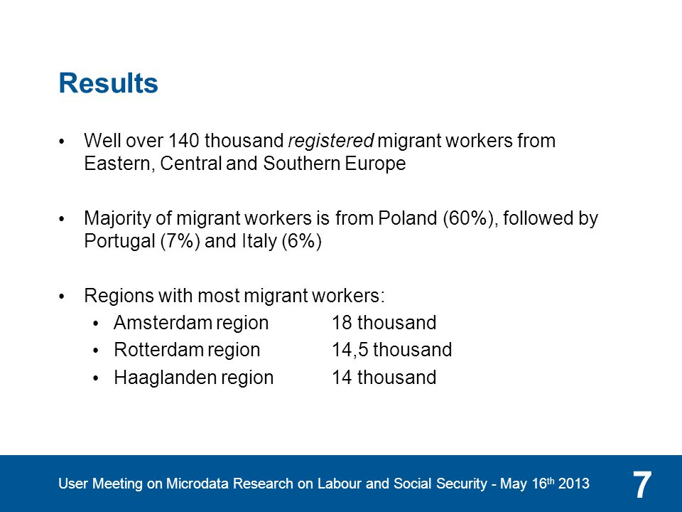 Results for Central and Eastern Europe 8 User Meeting on Microdata Research on Labour and Social Security - May 16 th 2013 Source: Sociaal Bestek, januari 2013 (author: Thomas Slager)