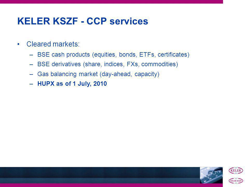 KELER KSZF - CCP services Cleared markets: –BSE cash products (equities, bonds, ETFs, certificates) –BSE derivatives (share, indices, FXs, commodities) –Gas balancing market (day-ahead, capacity) –HUPX as of 1 July, 2010