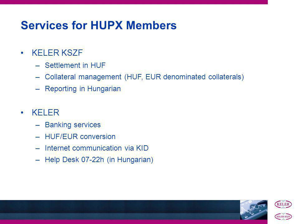 Services for HUPX Members KELER KSZF –Settlement in HUF –Collateral management (HUF, EUR denominated collaterals) –Reporting in Hungarian KELER –Banking services –HUF/EUR conversion –Internet communication via KID –Help Desk 07-22h (in Hungarian)