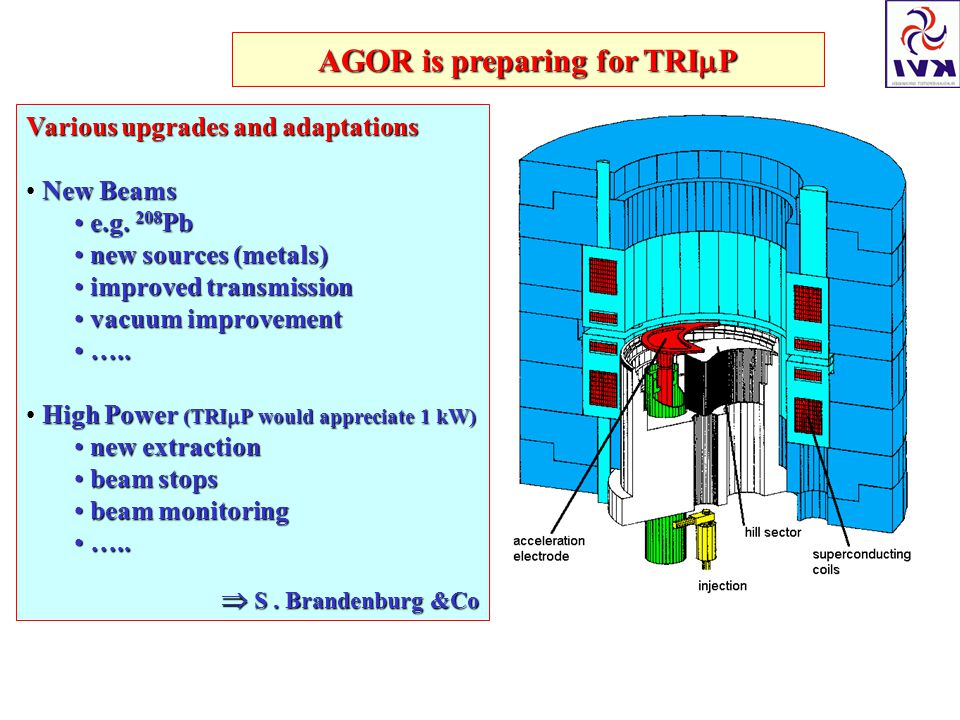 AGOR is preparing for TRI  P Various upgrades and adaptations New Beams New Beams e.g.