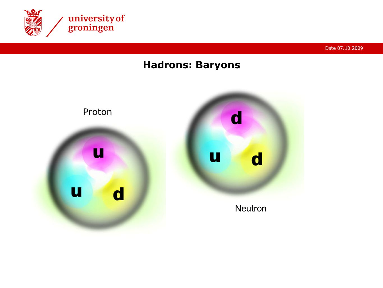 Date 07.10.2009 Hadrons: Baryons Proton Neutron