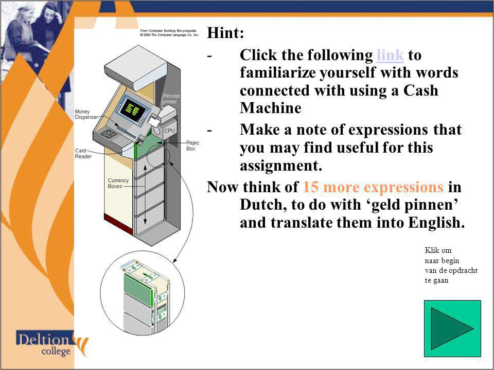 Hint: -Click the following link to familiarize yourself with words connected with using a Cash Machinelink -Make a note of expressions that you may find useful for this assignment.