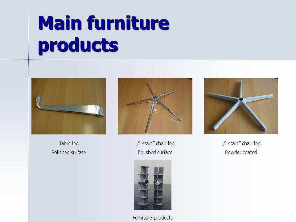 """Main furniture products Table leg Polished surface """"5 stars"""" chair leg Polished surface """"5 stars"""" chair leg Powder coated Furniture products"""