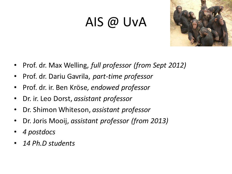 AIS @ UvA Prof.dr. Max Welling, full professor (from Sept 2012) Prof.