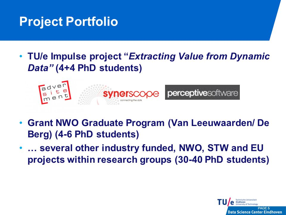 Project Portfolio TU/e Impulse project Extracting Value from Dynamic Data (4+4 PhD students) Grant NWO Graduate Program (Van Leeuwaarden/ De Berg) (4-6 PhD students) … several other industry funded, NWO, STW and EU projects within research groups (30-40 PhD students) PAGE 5