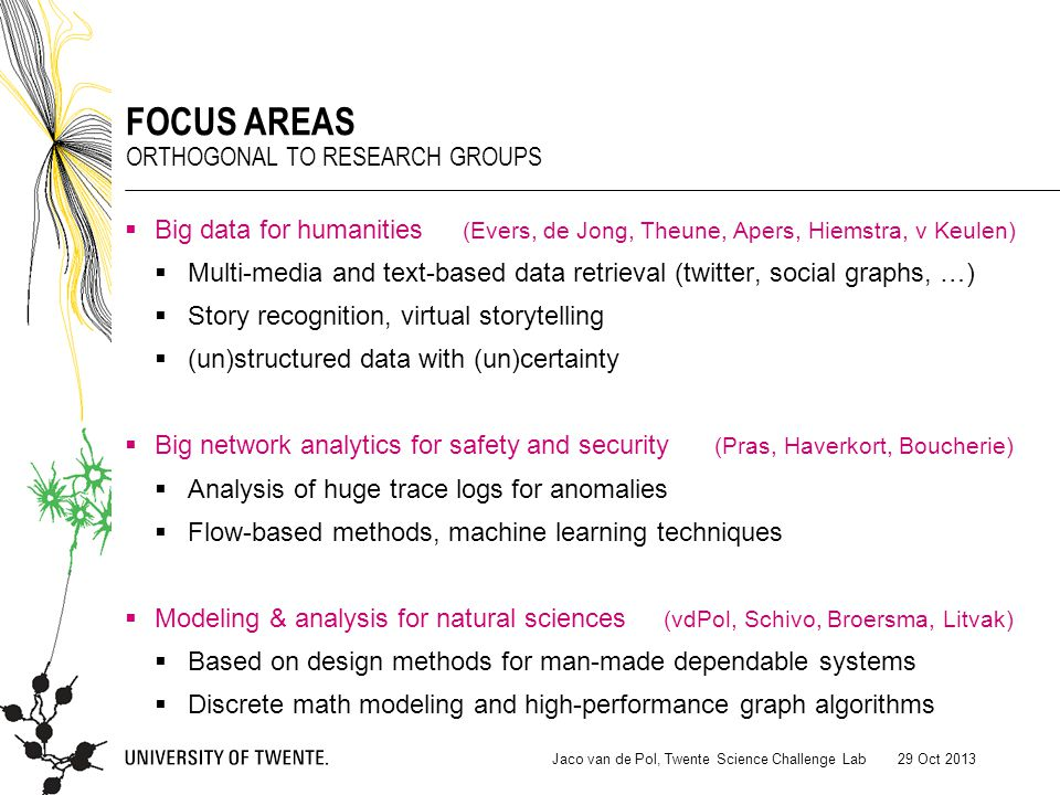  Big data for humanities (Evers, de Jong, Theune, Apers, Hiemstra, v Keulen)  Multi-media and text-based data retrieval (twitter, social graphs, …)  Story recognition, virtual storytelling  (un)structured data with (un)certainty  Big network analytics for safety and security (Pras, Haverkort, Boucherie)  Analysis of huge trace logs for anomalies  Flow-based methods, machine learning techniques  Modeling & analysis for natural sciences (vdPol, Schivo, Broersma, Litvak)  Based on design methods for man-made dependable systems  Discrete math modeling and high-performance graph algorithms 29 Oct 2013Jaco van de Pol, Twente Science Challenge Lab FOCUS AREAS ORTHOGONAL TO RESEARCH GROUPS
