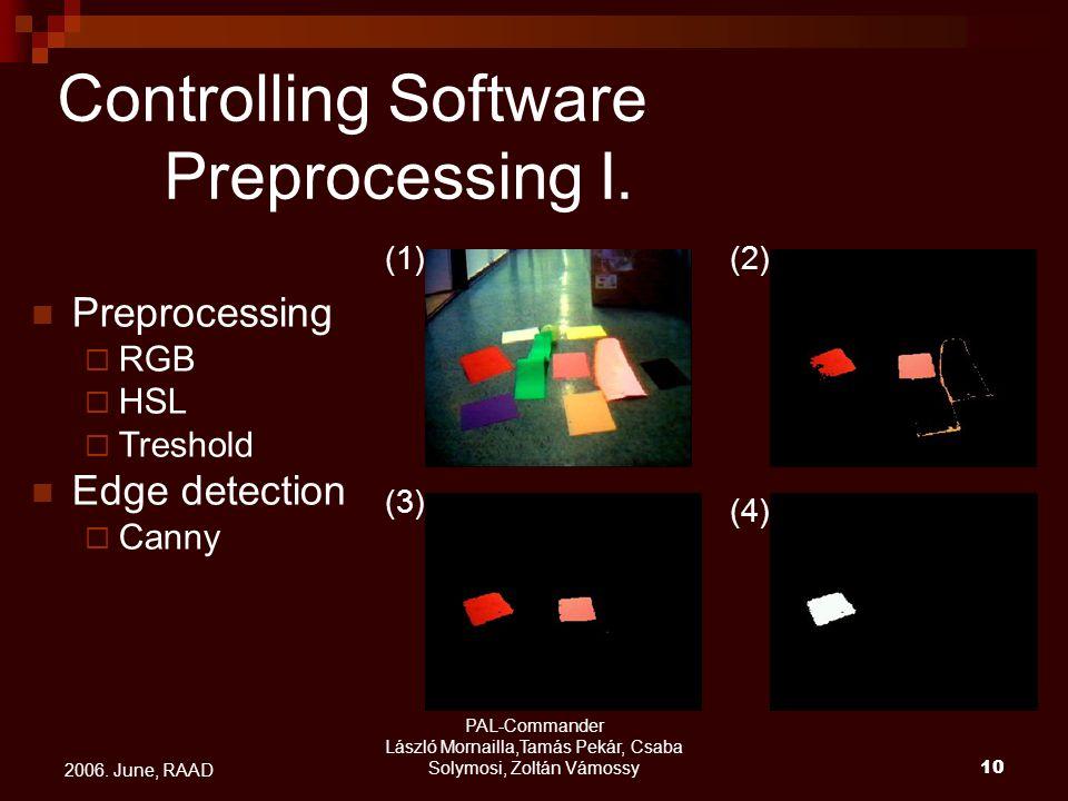 PAL-Commander László Mornailla,Tamás Pekár, Csaba Solymosi, Zoltán Vámossy10 2006. June, RAAD Preprocessing  RGB  HSL  Treshold Edge detection  Ca