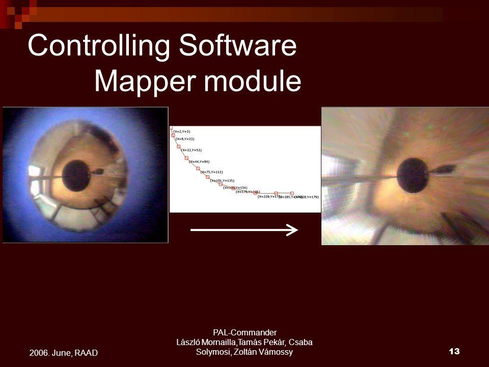 PAL-Commander László Mornailla,Tamás Pekár, Csaba Solymosi, Zoltán Vámossy13 2006. June, RAAD Controlling Software Mapper module
