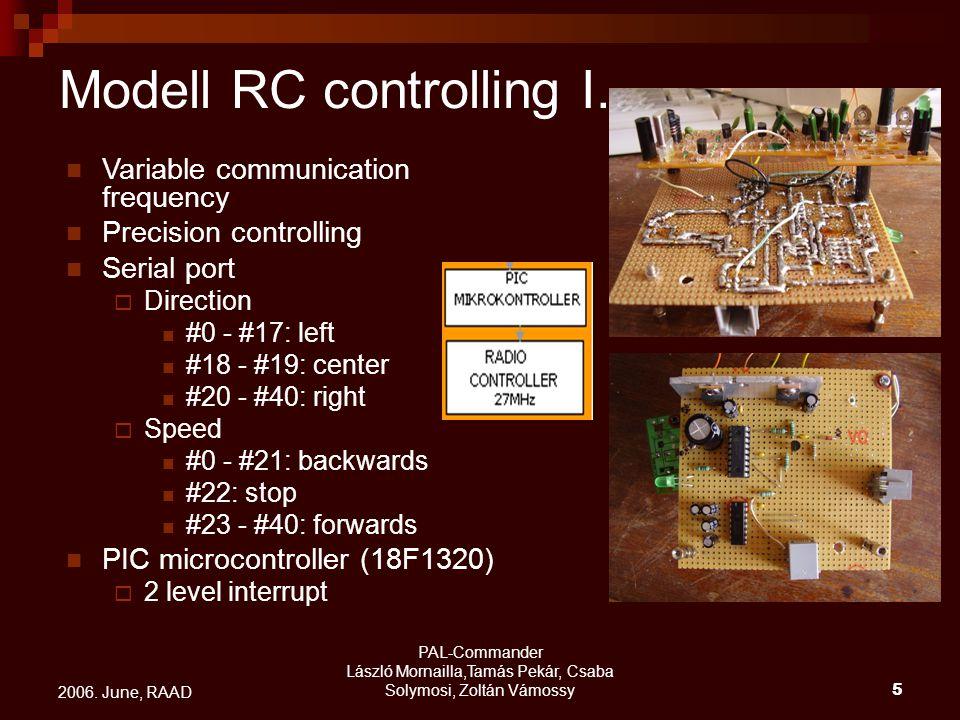 PAL-Commander László Mornailla,Tamás Pekár, Csaba Solymosi, Zoltán Vámossy5 2006. June, RAAD Modell RC controlling I. Variable communication frequency