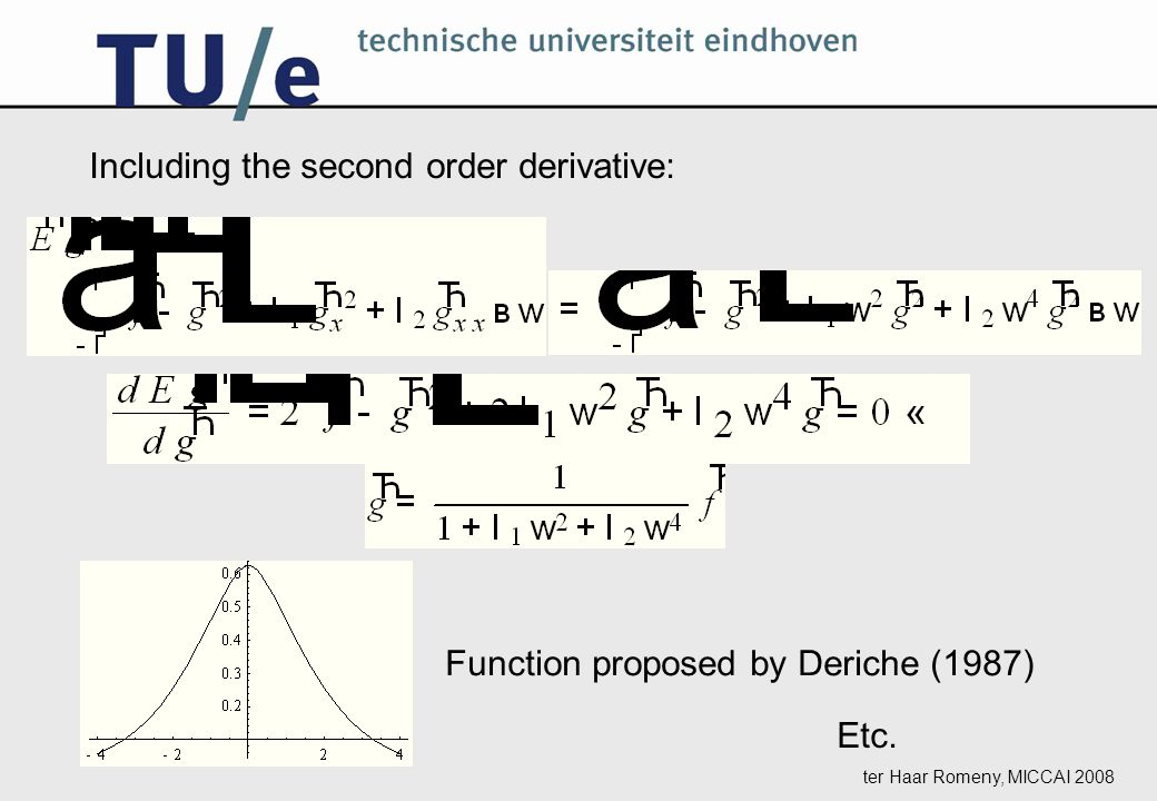 ter Haar Romeny, MICCAI 2008 Including the second order derivative: Function proposed by Deriche (1987) Etc.