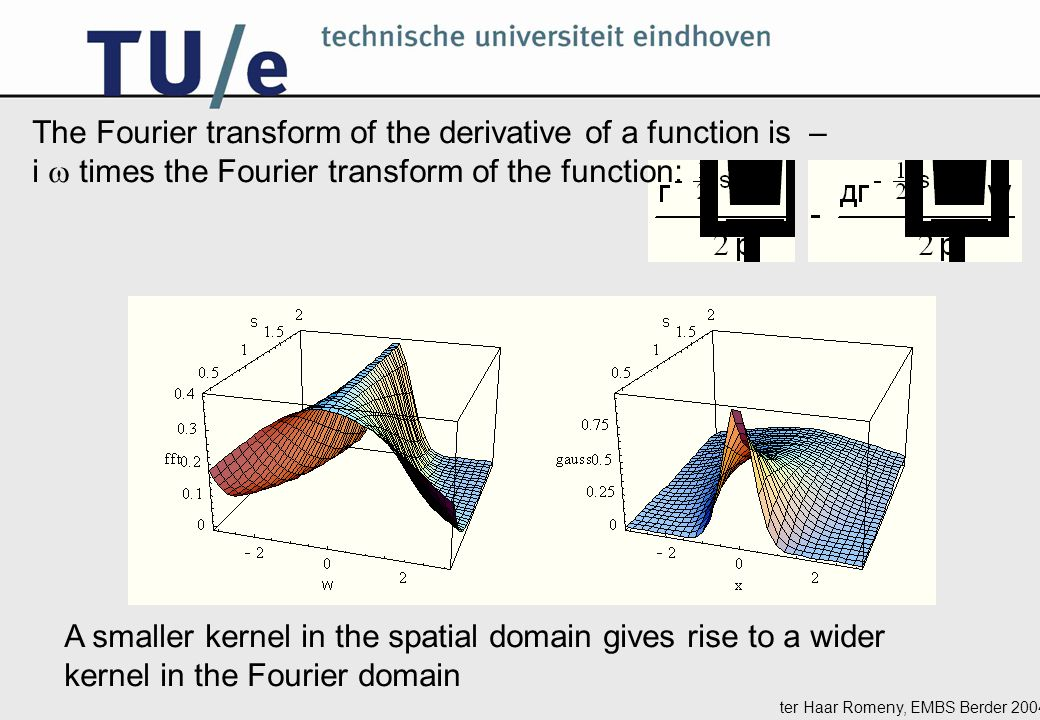 ter Haar Romeny, EMBS Berder 2004 The Fourier transform of the derivative of a function is – i  times the Fourier transform of the function: A smaller kernel in the spatial domain gives rise to a wider kernel in the Fourier domain