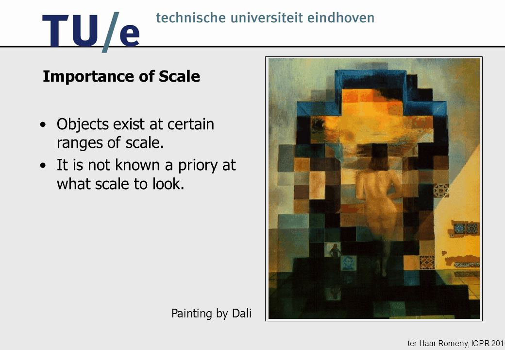 ter Haar Romeny, ICPR 2010 Importance of Scale Painting by Dali Objects exist at certain ranges of scale.