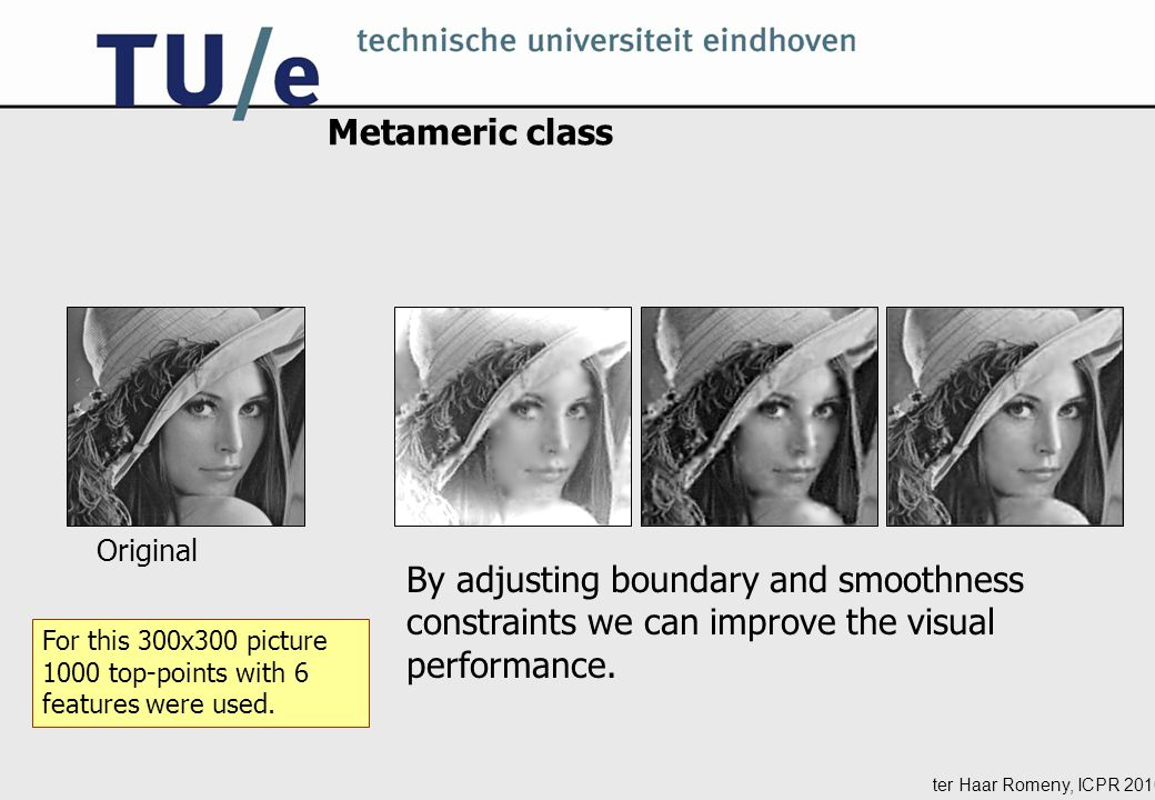 ter Haar Romeny, ICPR 2010 Metameric class Original By adjusting boundary and smoothness constraints we can improve the visual performance.