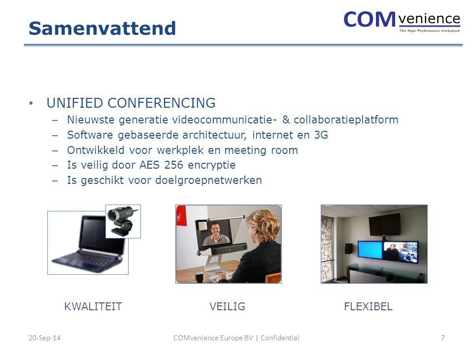 20-Sep-14COMvenience Europe BV | Confidential7 Samenvattend UNIFIED CONFERENCING – Nieuwste generatie videocommunicatie- & collaboratieplatform – Software gebaseerde architectuur, internet en 3G – Ontwikkeld voor werkplek en meeting room – Is veilig door AES 256 encryptie – Is geschikt voor doelgroepnetwerken KWALITEITFLEXIBELVEILIG