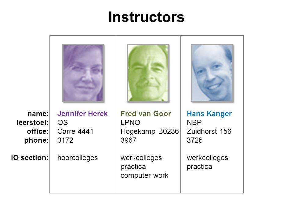 Instructors name:Jennifer HerekFred van GoorHans Kanger leerstoel:OSLPNONBP office:Carre 4441Hogekamp B0236Zuidhorst 156 phone:317239673726 IO section:hoorcollegeswerkcollegeswerkcollegespractica computer work