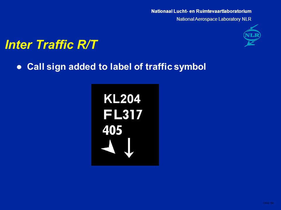 Nationaal Lucht- en Ruimtevaartlaboratorium National Aerospace Laboratory NLR CXXX-15A Inter Traffic R/T l Call sign added to label of traffic symbol