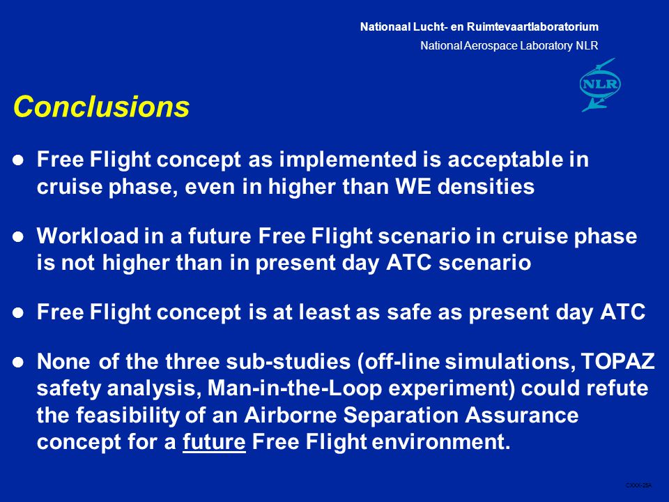 Nationaal Lucht- en Ruimtevaartlaboratorium National Aerospace Laboratory NLR CXXX-25A Conclusions l Free Flight concept as implemented is acceptable in cruise phase, even in higher than WE densities l Workload in a future Free Flight scenario in cruise phase is not higher than in present day ATC scenario l Free Flight concept is at least as safe as present day ATC l None of the three sub-studies (off-line simulations, TOPAZ safety analysis, Man-in-the-Loop experiment) could refute the feasibility of an Airborne Separation Assurance concept for a future Free Flight environment.