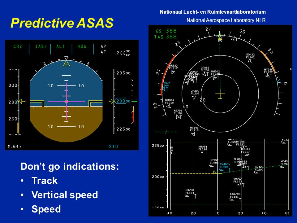 Nationaal Lucht- en Ruimtevaartlaboratorium National Aerospace Laboratory NLR CXXX-28A Predictive ASAS Don't go indications: Track Vertical speed Speed
