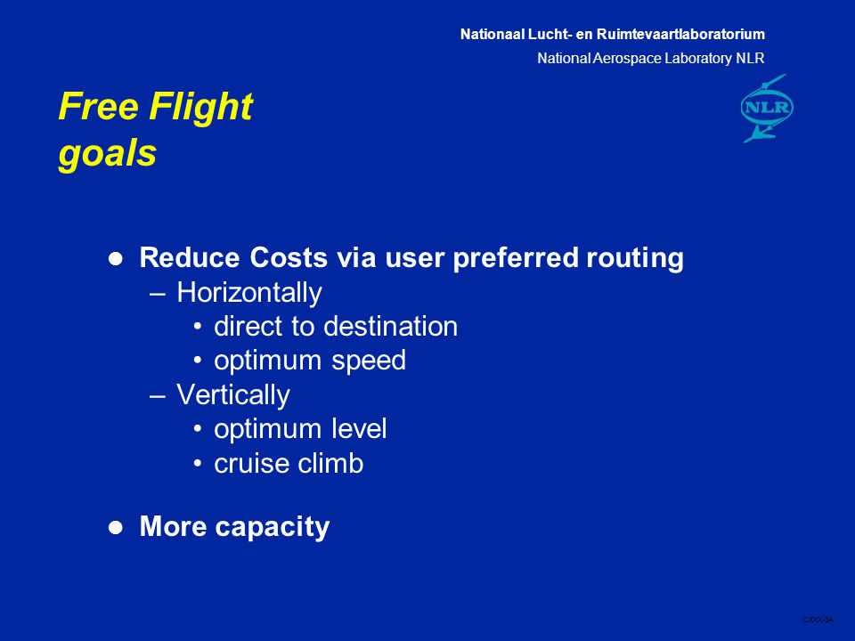 Nationaal Lucht- en Ruimtevaartlaboratorium National Aerospace Laboratory NLR CXXX-3A Free Flight goals l Reduce Costs via user preferred routing –Horizontally direct to destination optimum speed –Vertically optimum level cruise climb l More capacity