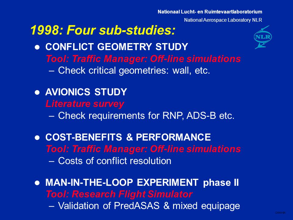 Nationaal Lucht- en Ruimtevaartlaboratorium National Aerospace Laboratory NLR CXXX-6A 1998: Four sub-studies: l CONFLICT GEOMETRY STUDY Tool: Traffic Manager: Off-line simulations –Check critical geometries: wall, etc.
