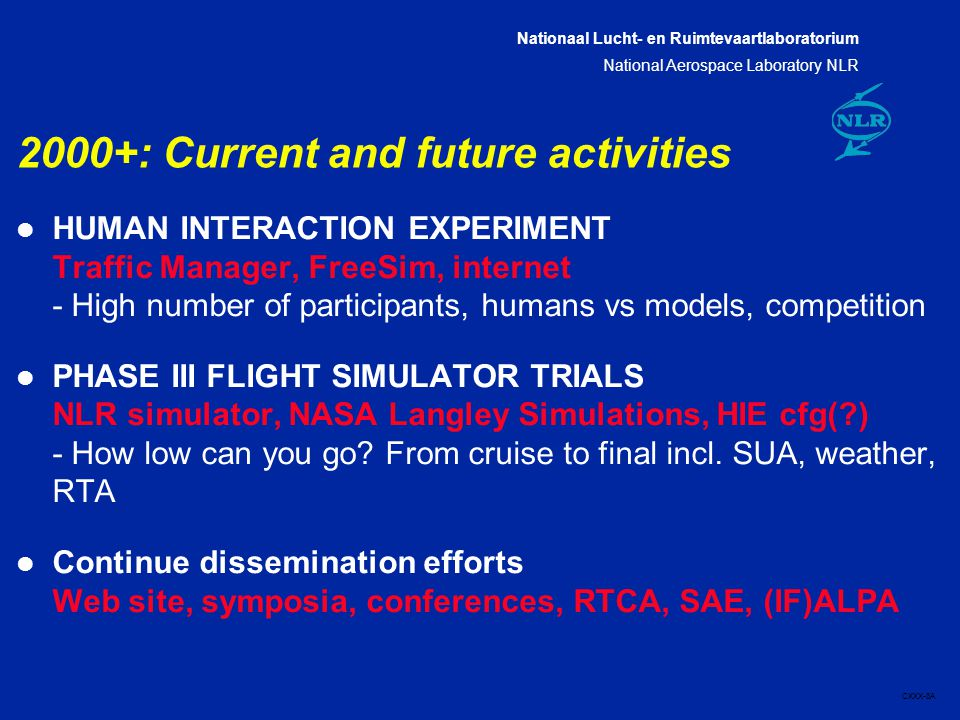 Nationaal Lucht- en Ruimtevaartlaboratorium National Aerospace Laboratory NLR CXXX-8A 2000+: Current and future activities l HUMAN INTERACTION EXPERIM