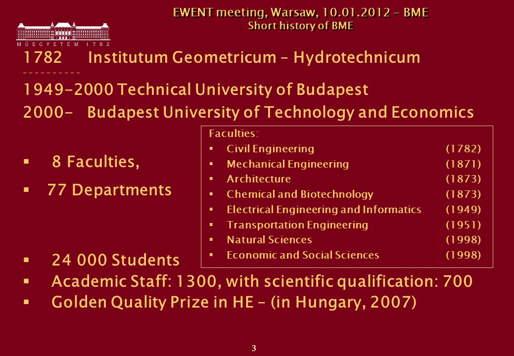 3 3 1782 Institutum Geometricum – Hydrotechnicum - - - - - 1949-2000 Technical University of Budapest 2000- Budapest University of Technology and Economics  8 Faculties,  77 Departments  24 000 Students  Academic Staff: 1300, with scientific qualification: 700  Golden Quality Prize in HE – (in Hungary, 2007) Faculties:  Civil Engineering (1782)  Mechanical Engineering (1871)  Architecture (1873)  Chemical and Biotechnology (1873)  Electrical Engineering and Informatics (1949)  Transportation Engineering (1951)  Natural Sciences (1998)  Economic and Social Sciences (1998) EWENT meeting, Warsaw, 10.01.2012 - BME Short history of BME