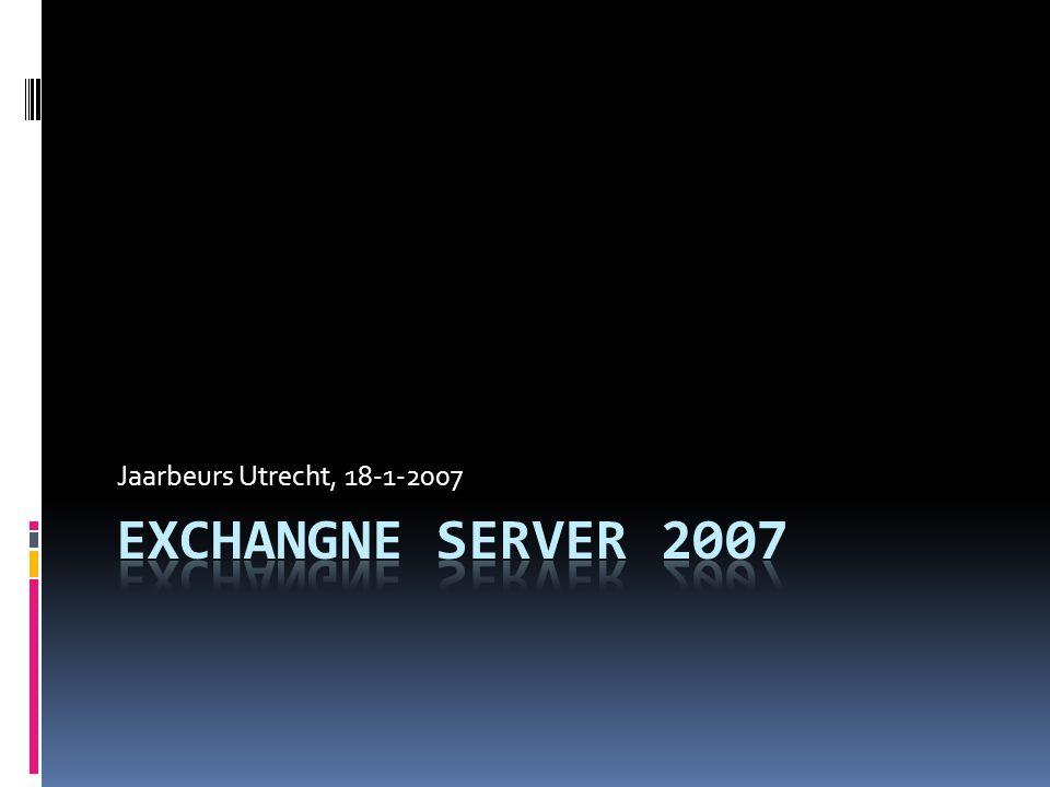 Deployement Scenario -middel  Twee exchange 2007 servers  1 e Server  HU B Transport  Client Access  Mailbox  Unified Messaging  2 e Server  Edge Transport