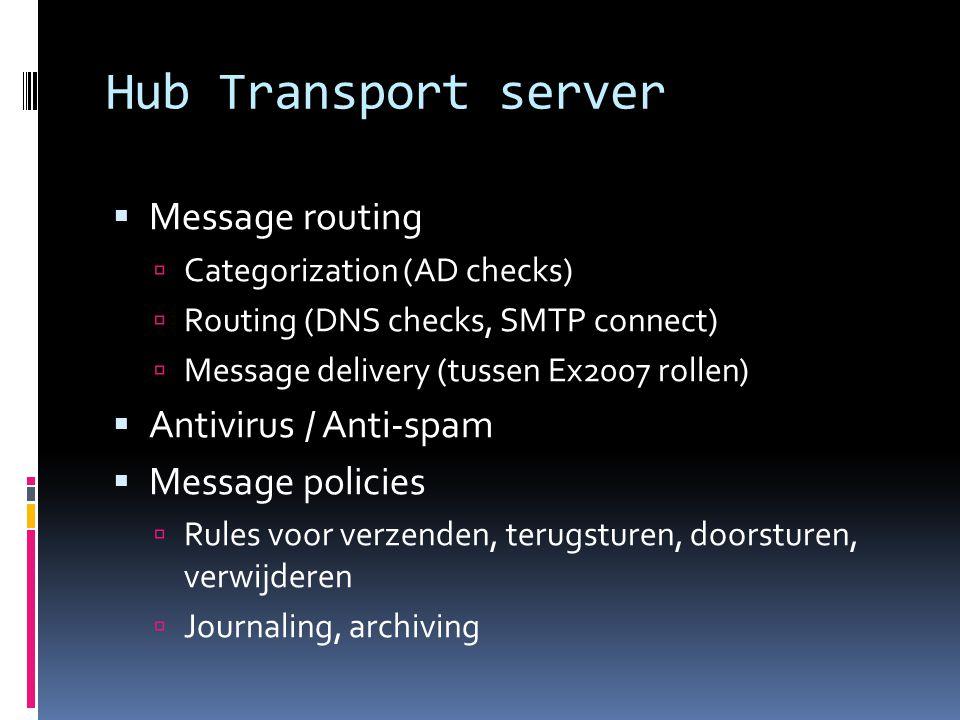 Hub Transport server  Message routing  Categorization (AD checks)  Routing (DNS checks, SMTP connect)  Message delivery (tussen Ex2007 rollen)  Antivirus / Anti-spam  Message policies  Rules voor verzenden, terugsturen, doorsturen, verwijderen  Journaling, archiving