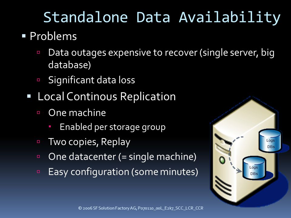 © 2006 SF Solution Factory AG, P070110_00L_E2k7_SCC_LCR_CCR Standalone Data Availability  Problems  Data outages expensive to recover (single server, big database)  Significant data loss  Local Continous Replication  One machine  Enabled per storage group  Two copies, Replay  One datacenter (= single machine)  Easy configuration (some minutes) Logs DBs Logs DBs
