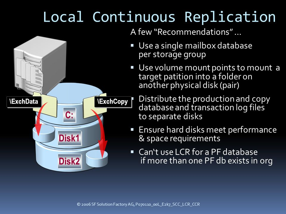 © 2006 SF Solution Factory AG, P070110_00L_E2k7_SCC_LCR_CCR Local Continuous Replication A few Recommendations …  Use a single mailbox database per storage group  Use volume mount points to mount a target patition into a folder on another physical disk (pair)  Distribute the production and copy database and transaction log files to separate disks  Ensure hard disks meet performance & space requirements  Can't use LCR for a PF database if more than one PF db exists in org C: Disk1 Disk2 \ExchData \ExchCopy