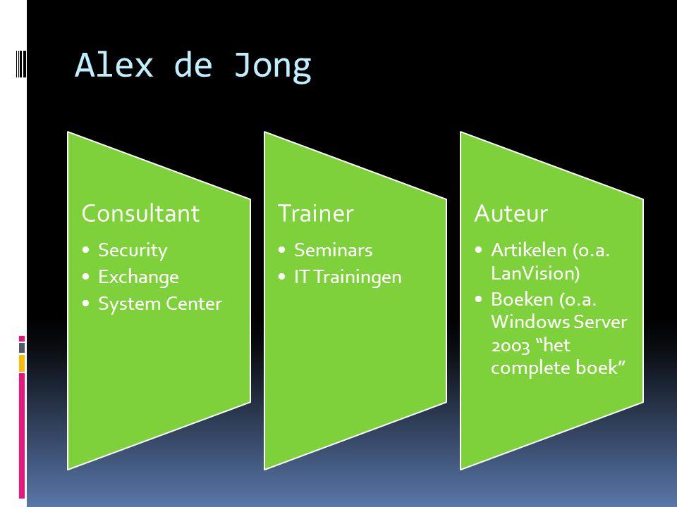 Alex de Jong Consultant Security Exchange System Center Trainer Seminars IT Trainingen Auteur Artikelen (o.a.