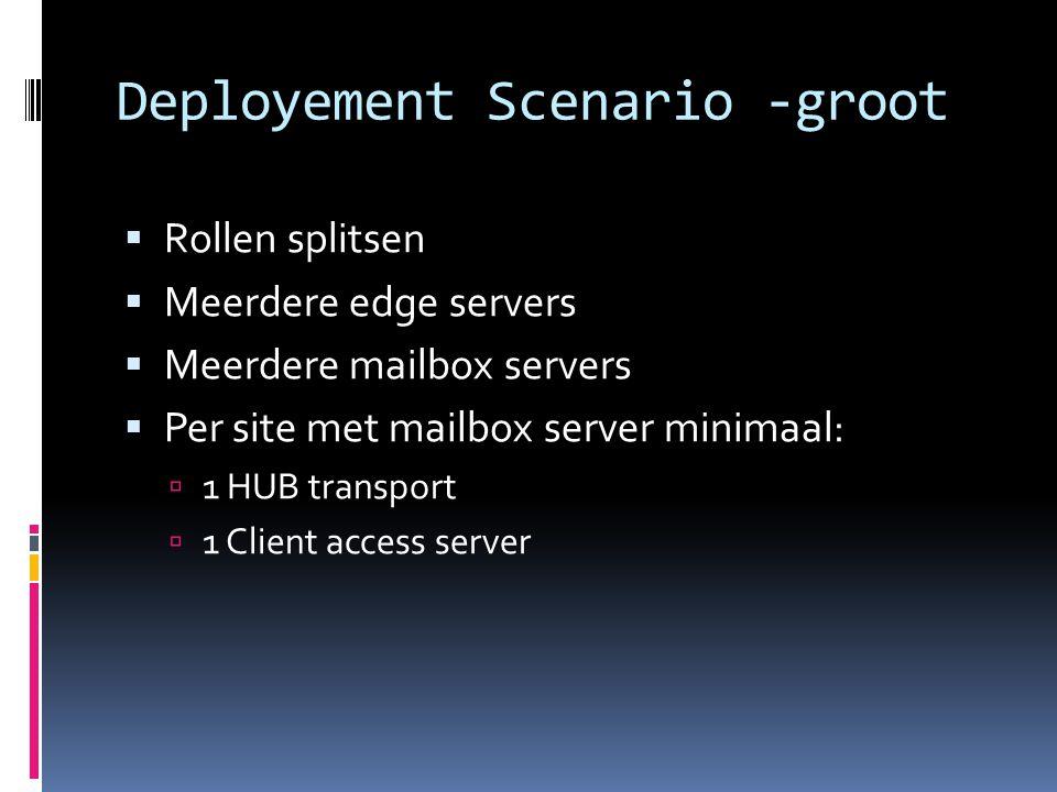 Deployement Scenario -groot  Rollen splitsen  Meerdere edge servers  Meerdere mailbox servers  Per site met mailbox server minimaal:  1 HUB transport  1 Client access server